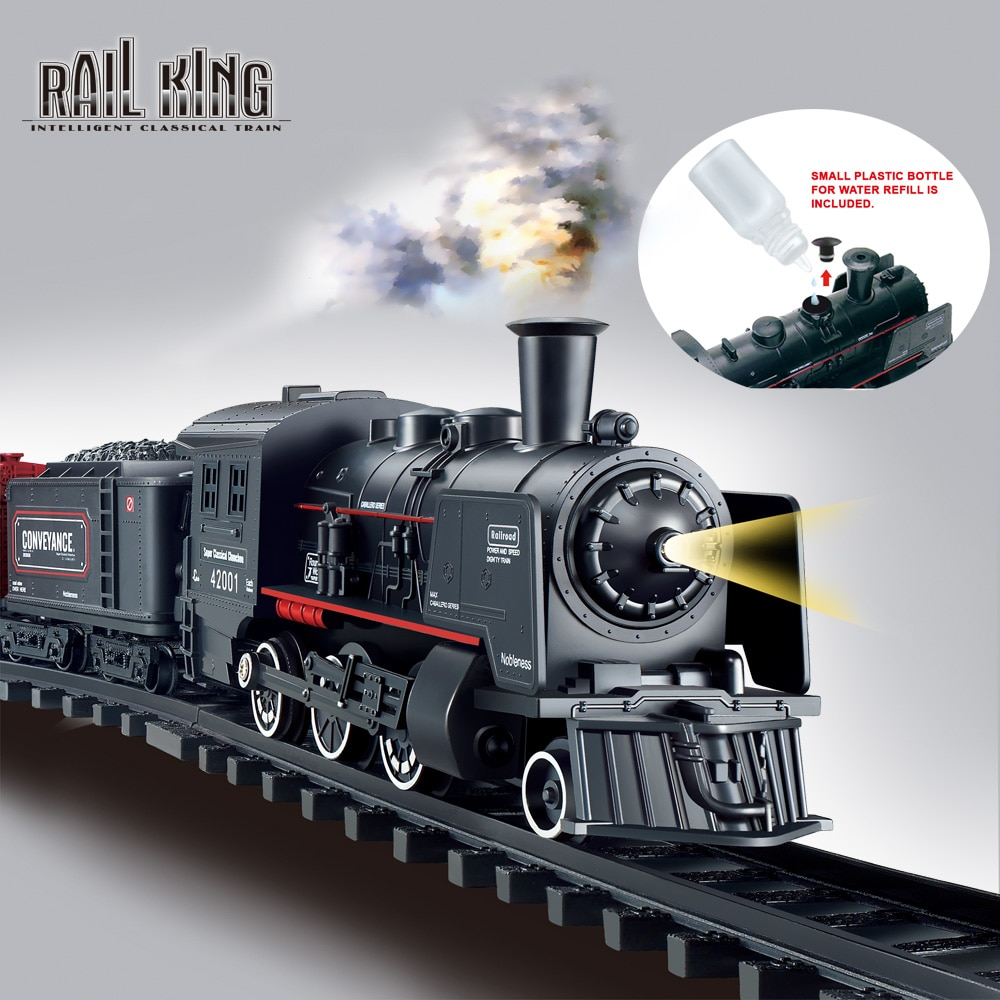 Battery Operated Railway Classical Freight Train Water Steam Locomotive Playset with Smoke Simulation Model Electric Train Toys