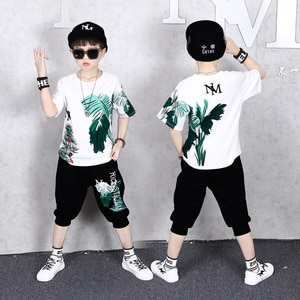 2021 teenager Summer Boys Clothes T shirt + loose Pants Casual Sports Suits 7 4 5 6 8 10 11 12 13 14 Years Kids hip hopTracksuit