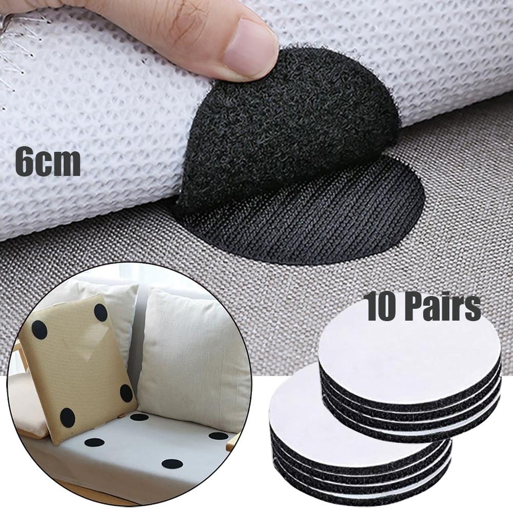 20 pces/10 pares anti curling tapete fita prendedor velcro fixar o sofá do tapete e folhas no lugar e manter os cantos plana
