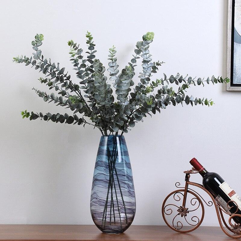 Artificial plant money leaf plastic green plant fake eucalyptus leaf DIY home wedding forest style decoration