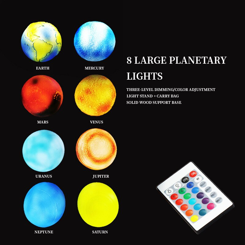 3D Printing Rechargeable Moon Lamp Kids Night Light 16 Color Change Touch and Remote Control Galaxy Moon Light as Gifts enlarge