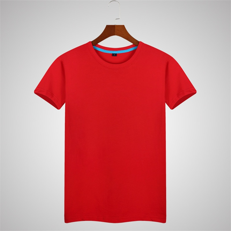 B1437-2020Summer new men's T-shirts solid color slim trend casual short-sleeved fashion