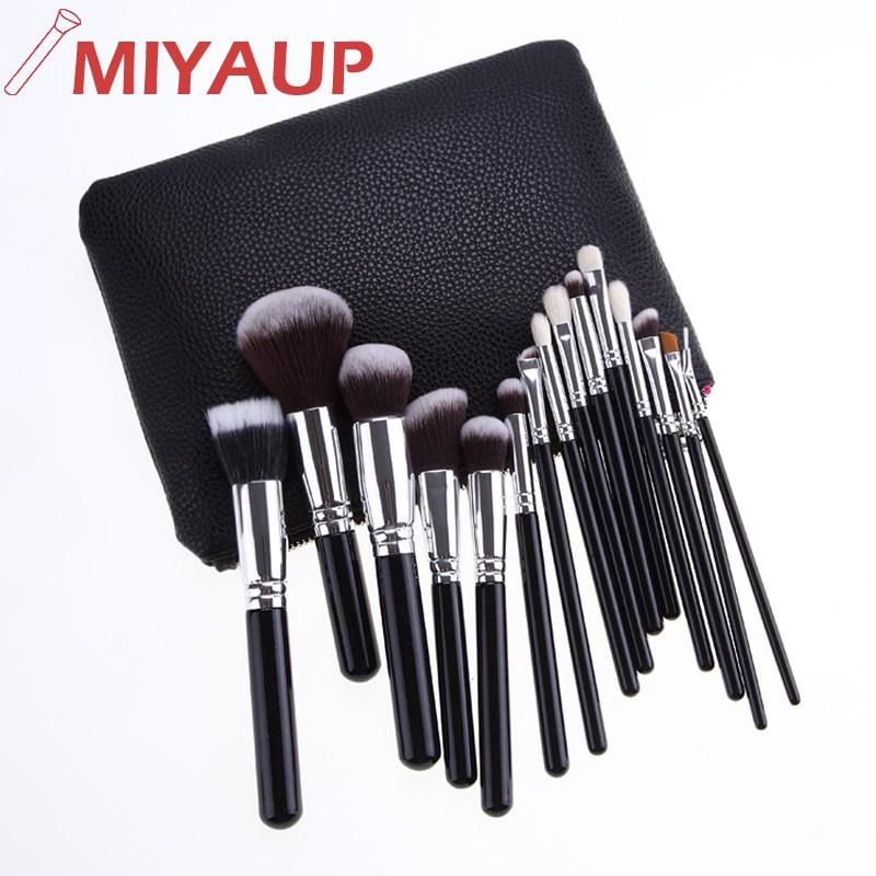 Miyaup, gran oferta, 15 Uds., portátil, de alta calidad, mango negro, Brosse a maquillaje, logotipo personalizado, Kit de brochas de maquillaje con bolsa de PU con cremallera