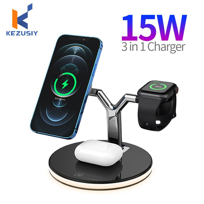 3 in 1 Magnetic Wireless Charger 15W Fast Charging Station For iPhone 12 12 Mini 12 Pro Max Chargers