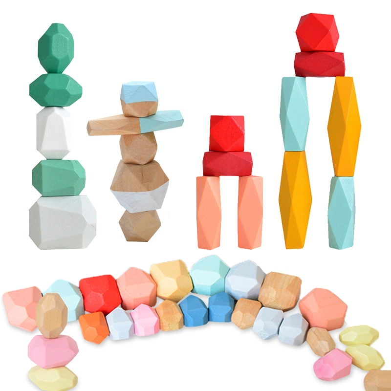 36PCS Colored Pine/Beech Stone Jenga Building Block Educational Toy Baby Stacking Game Balancing Stone Jenga Wooden Toy For Kids colored stone baby toy wooden jenga building block creative educational toys nordic style stacking game rainbow stone wooden toy