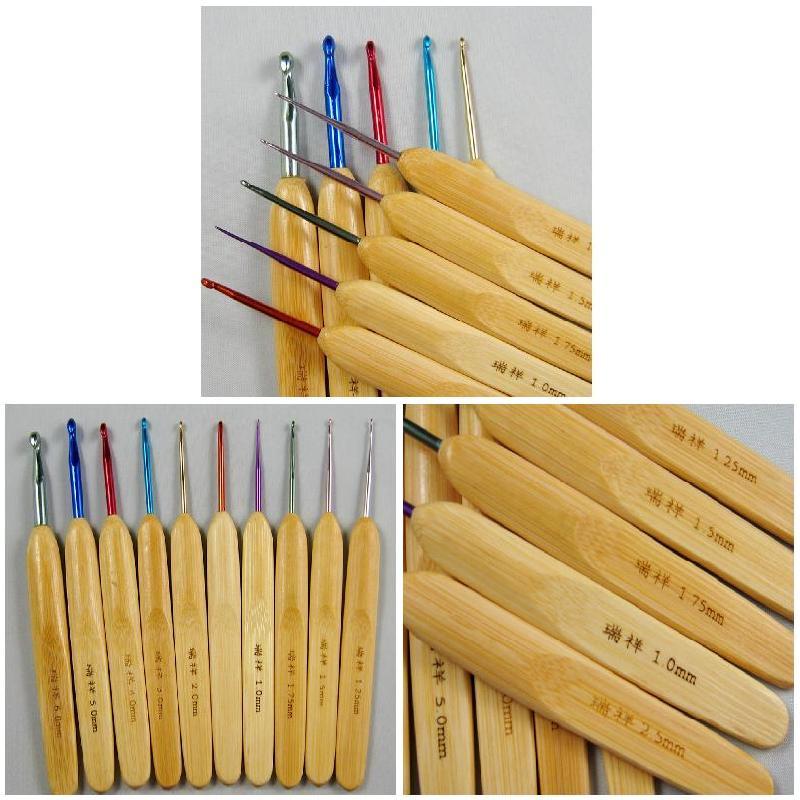 Agujas De alúmina con mango De bambú para ganchillo, 10 Uds., accesorios...