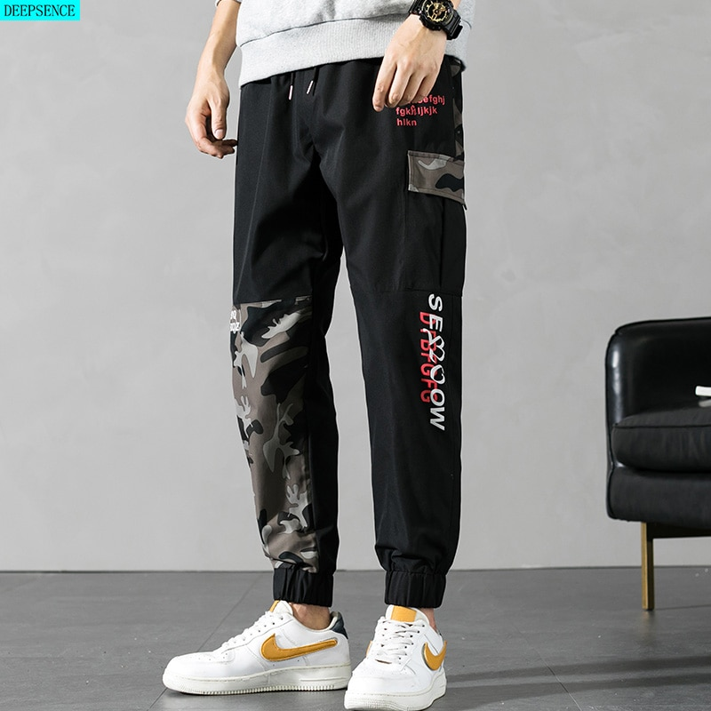 2021 New Summer Splicing Men Large Size Casual Pants Camouflage Men Nine-Point Pants Men Trousers M-