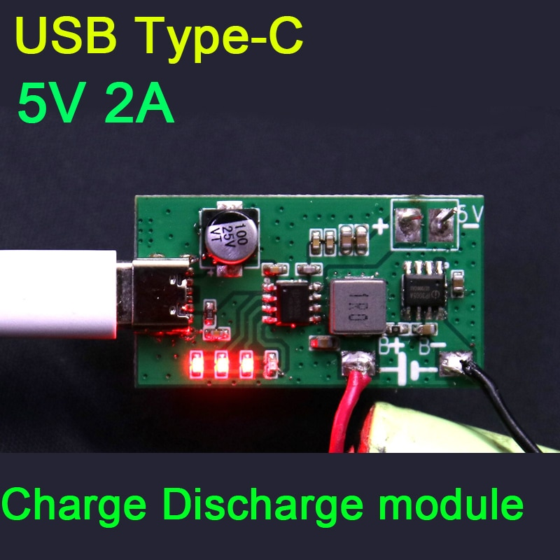 2IN1 IP5306 2A módulo de carga de batería de litio Placa de protección 5V tipo-c USB LED indicador 1S 3,7 V 18650