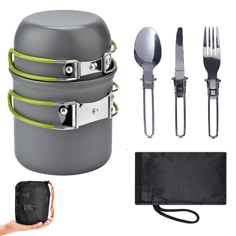 لوازم في الهواء الطلق رائجة البيع طقم أدوات طهي للتخييم ، يسهل حملها لمدة 1-2 شخص ، نزهة موقد طباخ مجموعة مع صندوق اللون