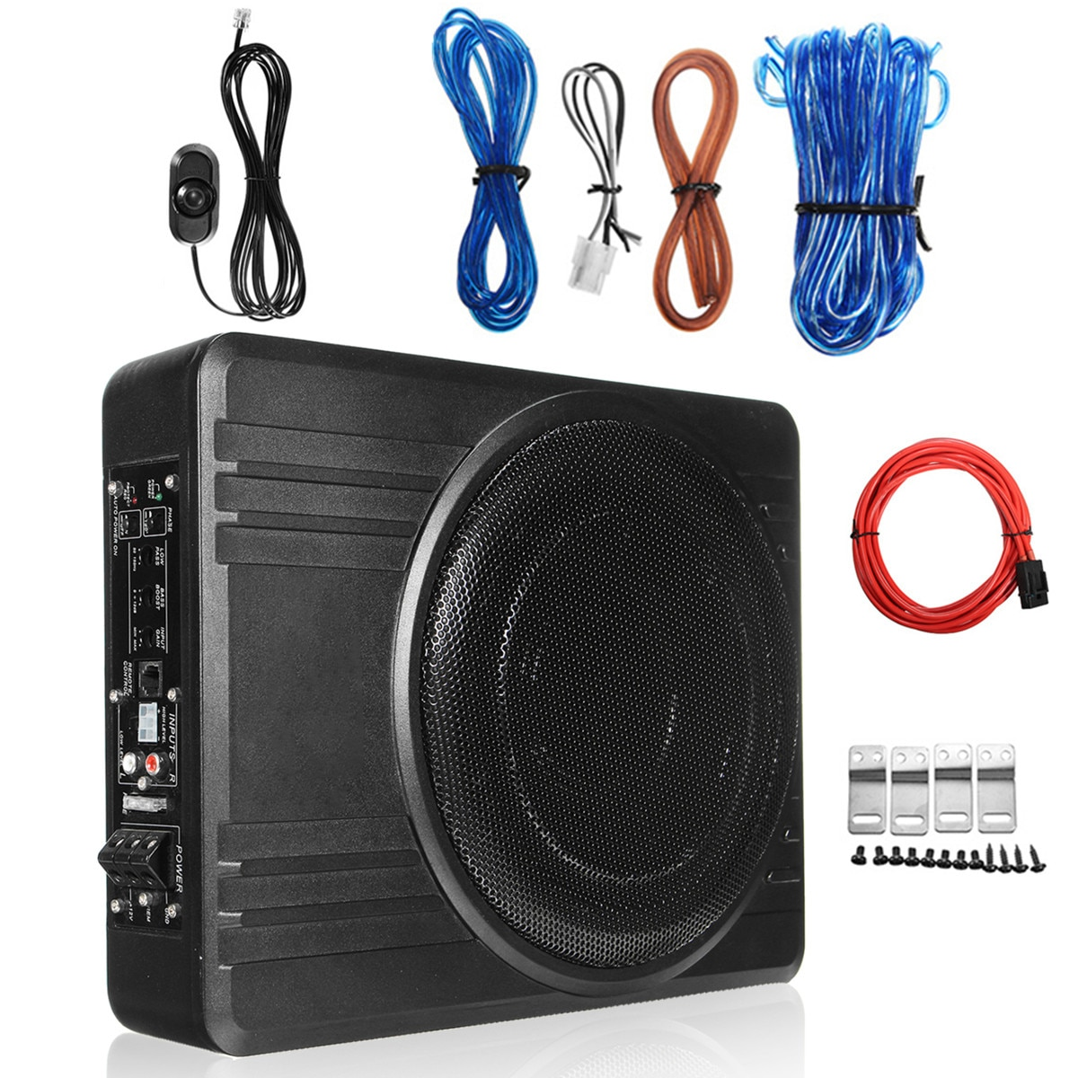 600W 10 Inch Car Amplifier Subwoofer Car Audio Slim Under Seat Active Subwoofer Bass Speaker Car Sub