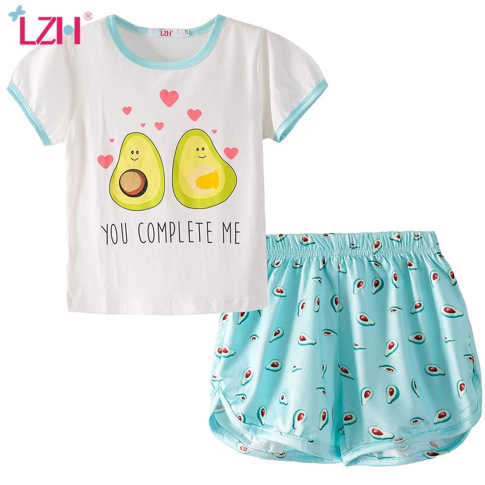 LZH/2021 летние тонкие носки с персонажами из мультфильмов футболки с рисунками для детей, пижама, нарядное платье с короткими рукавами и шорты, комплект, одежда для сна из хлопка для девочек, комплект детской одежды для мальчиков и девочек, От 3 до 8 лет|Комплекты пижам| | АлиЭкспресс