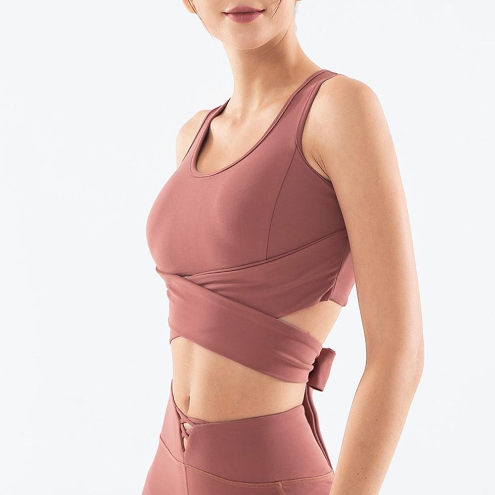 Novo estilo yoga wear feminino cor sólida bandagem sutiã esportivo de secagem rápida cabresto yoga colete fitness correndo sem mangas cabresto topo