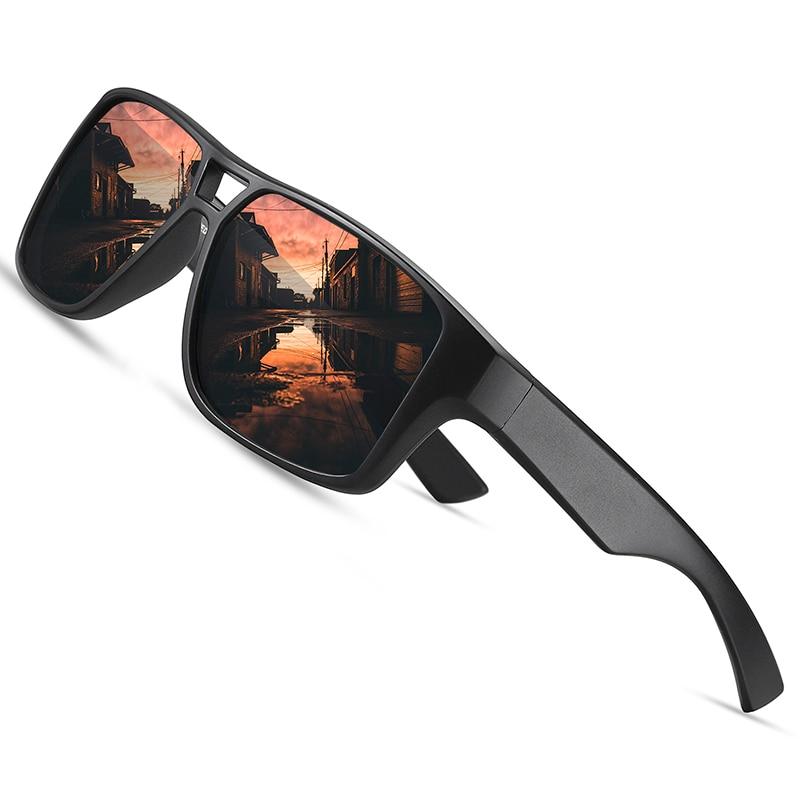 AOFLY Rectangle Polarized Sunglasses For Men Vintage Oversize Anti Glare Acetate Driving Mirror Sun Glasses Male Women UV400
