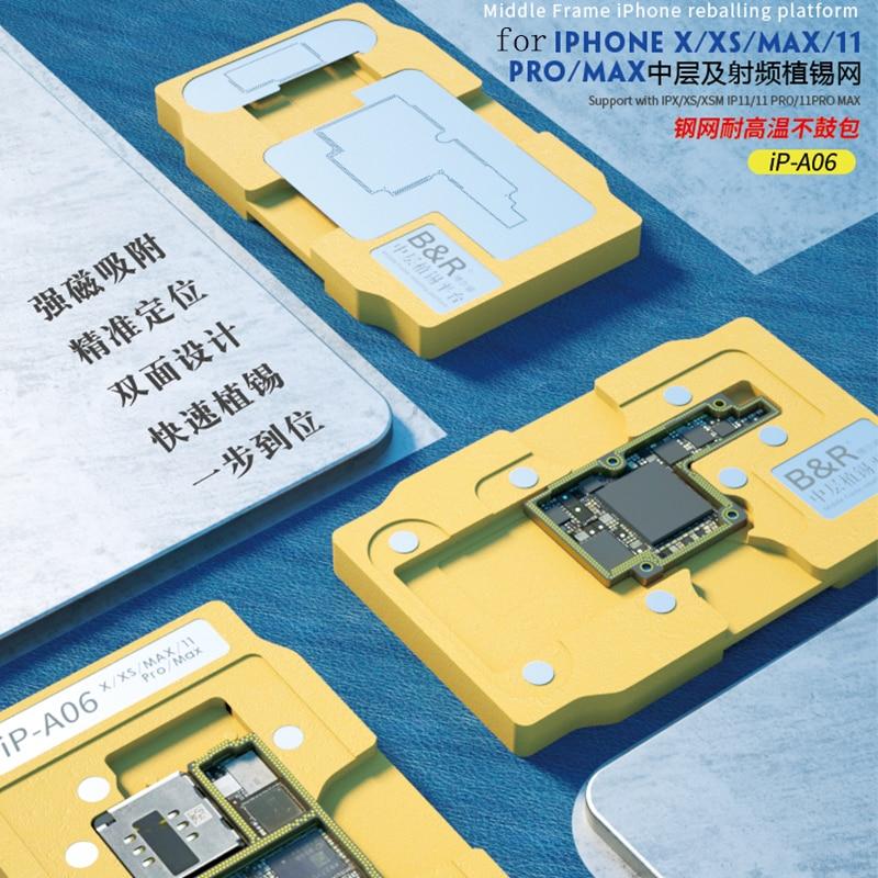 Plataforma para Iphone 6 em 1 Reballing Estêncil Max 11 Pro rf Placa Lógica Camada Média Plantio Estanho Modelo Bga x xs