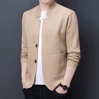 2021 new high end mens fashion business casual stand collar casual solid color suit style sweater coat mens knitted sweater