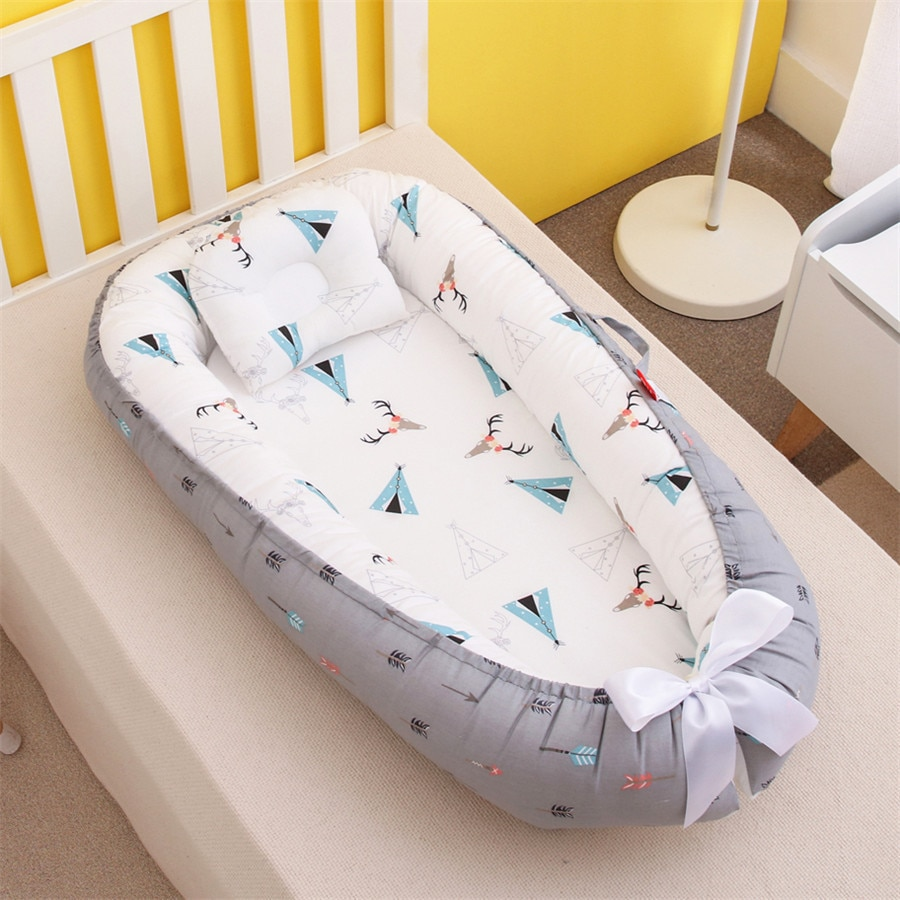 Portable removable and washable anti-pressure crib bed child with bionic baby pillow 50-85cm