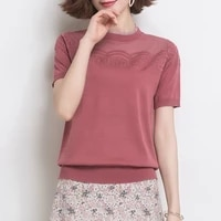2020 new ice silk solid color t shirt womens summer hollowed out short sleeve t shirt loose thin foreign style lace top