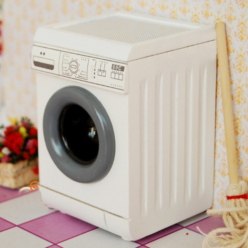 1/12 Dollhouse Miniature Roller Washing Machine Mini Laundry Washer Bathroom Furniture Home Appliance Decor fps180a ac220v general washing machine double inlet water valve home electrical appliance workmanship washer replacement parts