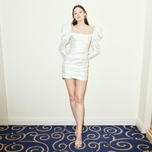 White Satin Prom Dress Sequins Beaded Dress Crystals Dress Hip Mini Party Dress Full Sleeve Square N