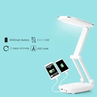 mini portable powerful led desk lamp 4000mah battery rechargeable dimmable folding light usb led table lamps with power bank