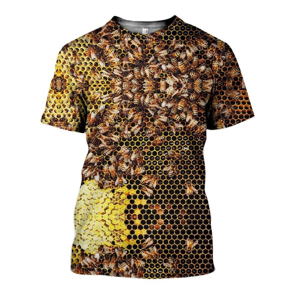 Прямая поставка, Новинка лета 2021, модные футболки с принтом пчелы, мужские и женские футболки с круглым вырезом, повседневные футболки в сти...