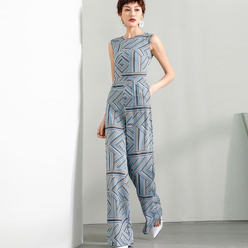 2020 Women Summer Jumpsuit Party High Street Chiffon Elegant Wide Leg Striped Rompers Jumpsuits with Pocket Plus Size 3XL 4XL plus button front striped wide leg cami jumpsuit