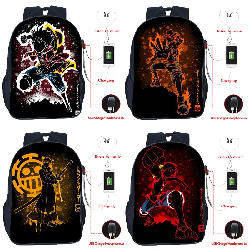 New 16 Inch ONE PIECE USB Charge Backpack Boys Girls Luffy School Rucksack Students Zoro Bookbag Teens Sanji USB Travel Bag Gift