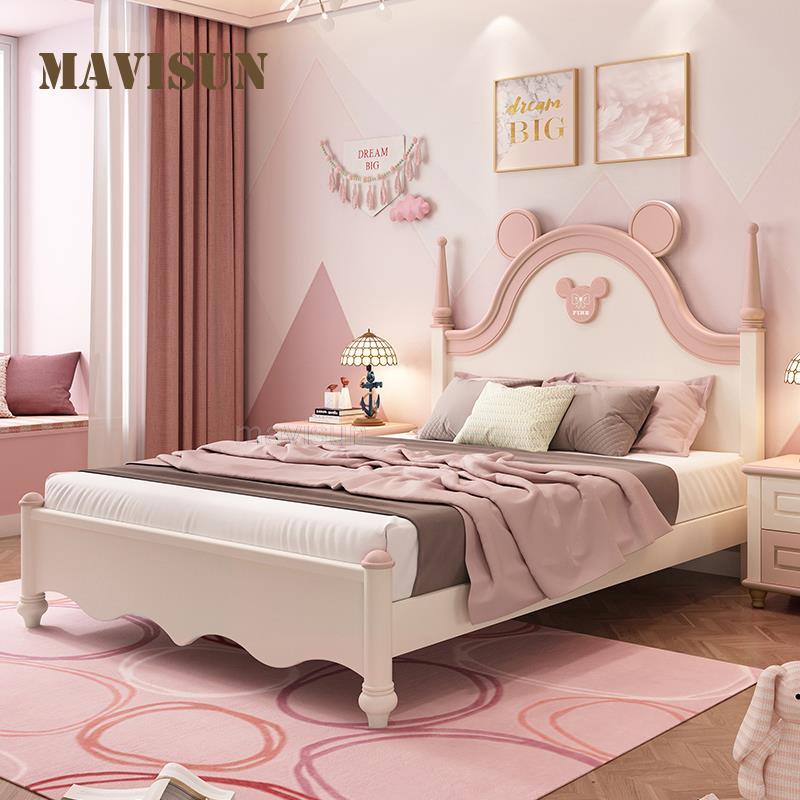 منجد منصة سرير الأطفال فتاة يحب الوردي الأميرة سرير مفرد 1.2 متر 1.5 متر بسيطة غرفة الأطفال مجموعة اثاث المنزلية