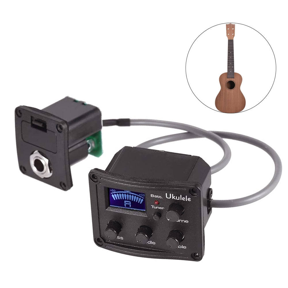 acoustic guitar pre wired preamp 5 band eq tuner piezo pickup Ukulele Uke Piezo Pickup Preamp 3-Band EQ Equalizer Tuner System With LCD Display Ukulele Accessories Black Guitar Accessories