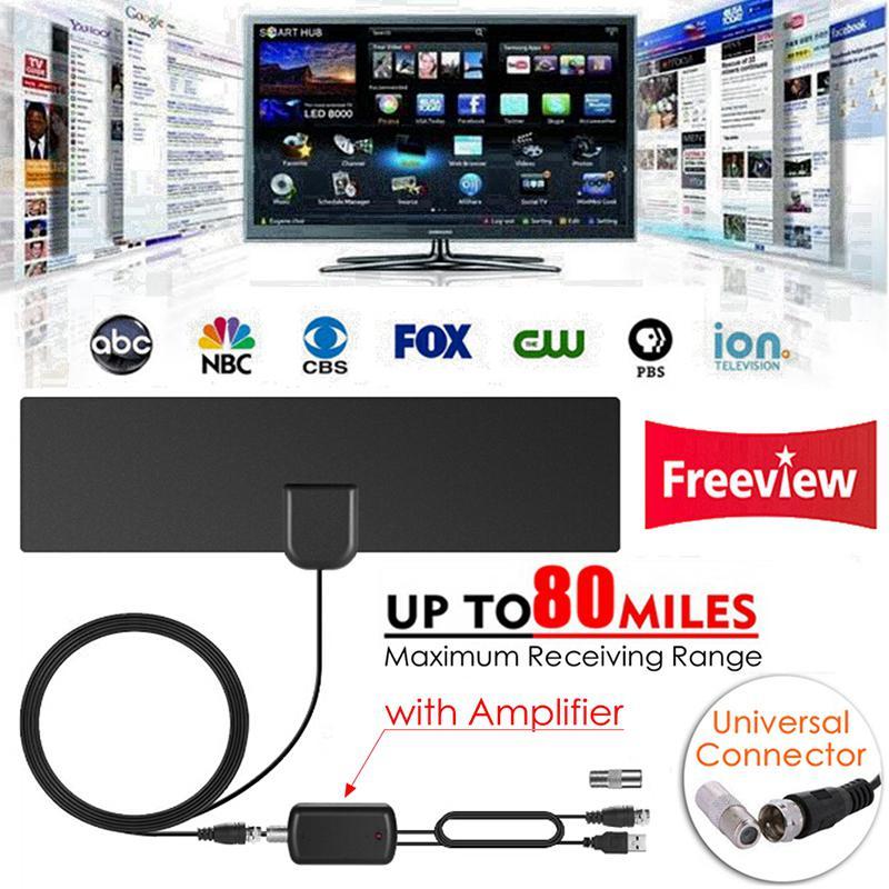 80 millas HDTV Antena Digital aéreo con amplificador de señal amplificador de...