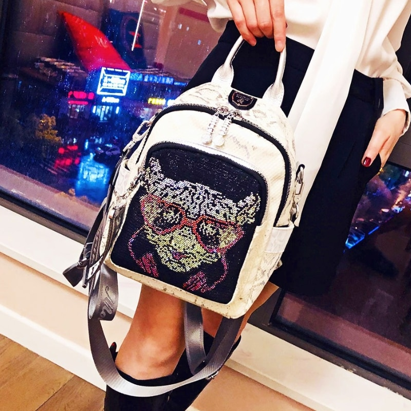 Anilmal Prints Mochilas Fancy Designer Rhinestone Backpack Rivet Travel School Sac Femme Fashion Women's Bag