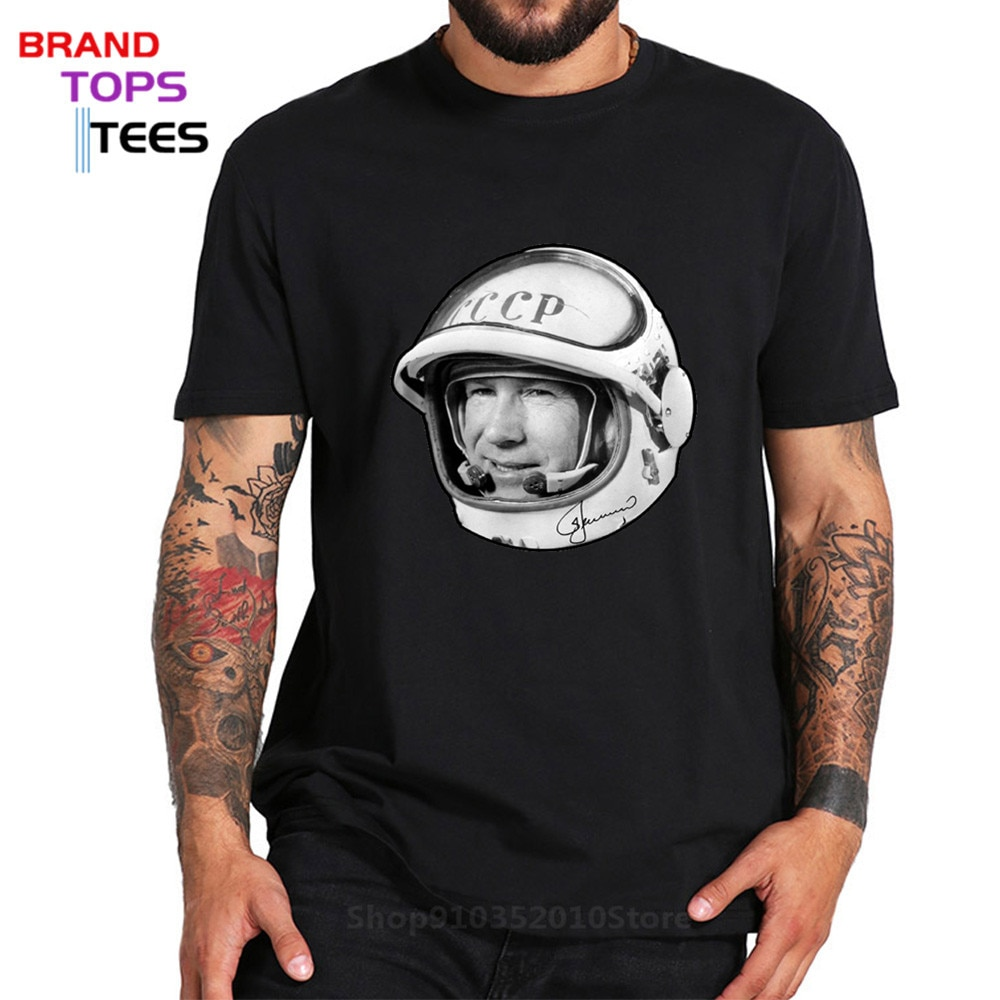 Russian CCCP Space Astronaut Alexei Leonov T shirt Russia USSR Hero Funny T-shirt Soviet Union Space Programme Tee Tops