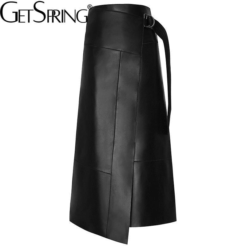 Getspring النساء تنورة عدم التماثل بولي Leather جلد أسود عالية الخصر التنانير غير النظامية كل مباراة طويلة الخريف والشتاء التنانير 2021 جديد