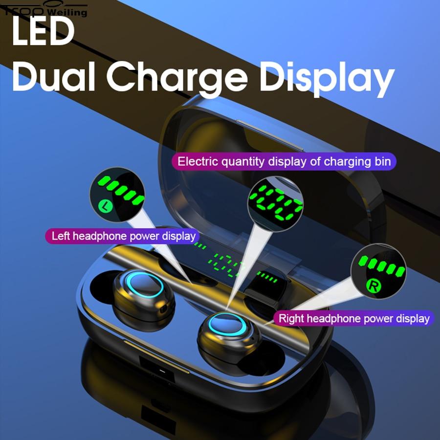 Trop Weiling-auricular Tws, por Bluetooth, auriculares Hifi deportivos con pantalla de carga Dual Led, auriculares con cancelación activa de ruido para videojuegos
