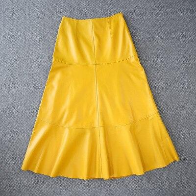 2020 Women Spring Genuine Real Sheep Leather Skirt E24