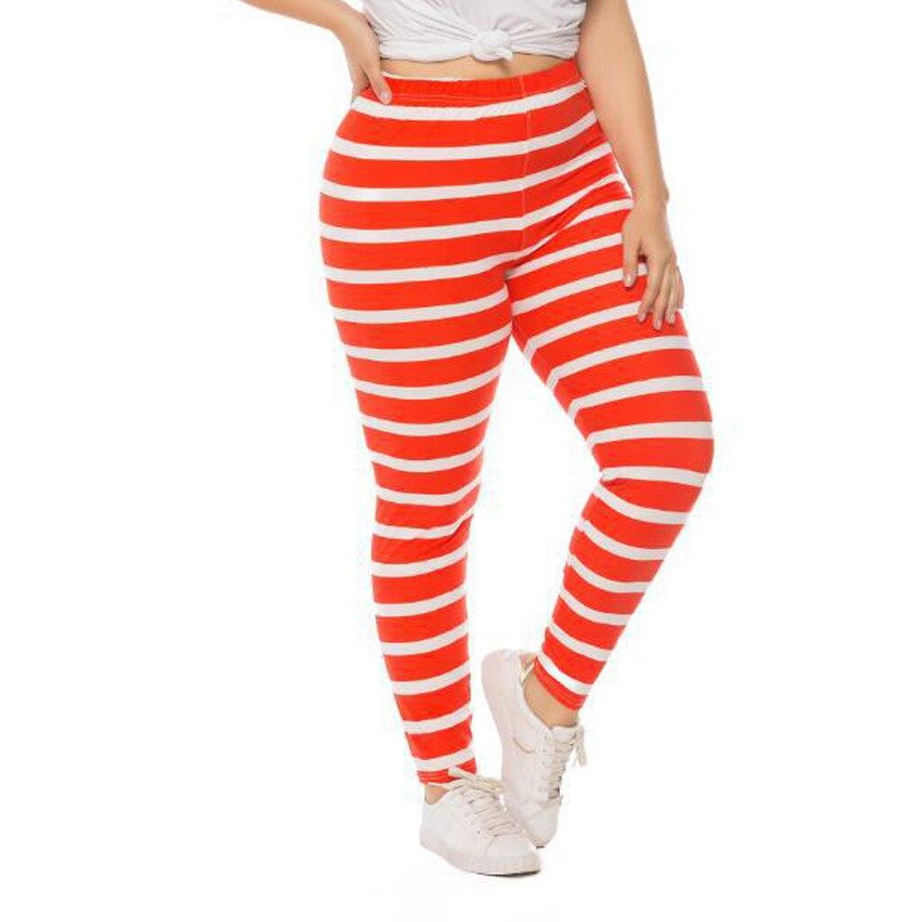 Pantalones de Yoga a rayas con estampado de Hip-lifting para mujer, pantalones elásticos, mallas deportivas para correr, mallas naranjas para mujer 2XL