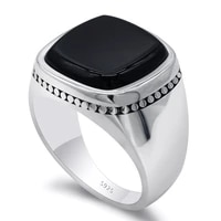925 sterling silver black signet ring for men square agate aqeeq rings turkish mens fashion jewelry wedding anniversary gift
