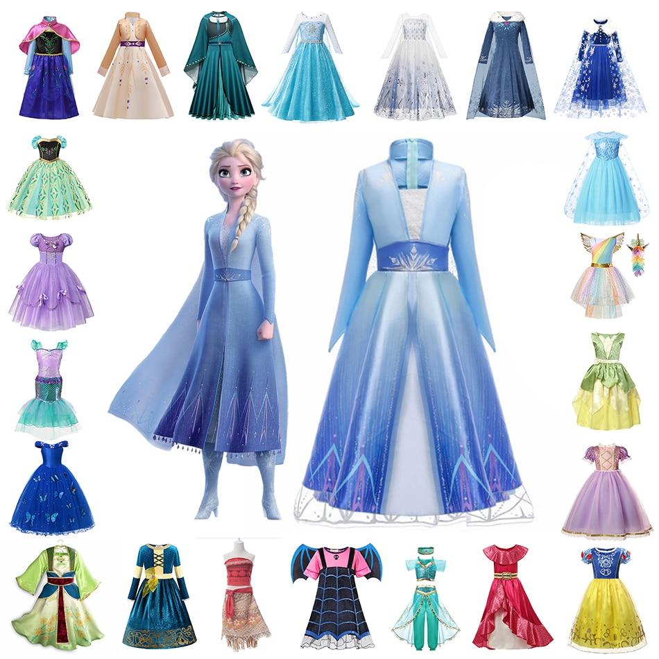 Disney Princess Costume Frozen Anna Elsa Snow White Jasmine Cosplay Party Dress Girls Unicorn Vampirina Halloween Prom Kids Wear