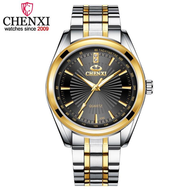 Часы CHENXI мужские, кварцевые, повседневные, из нержавеющей стали, золотого цвета