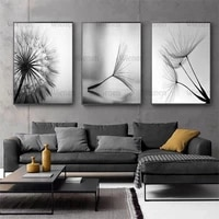 gray dandelion flower canvas print painting minimalist modern art pictures for home decoration living room wall poster no frame