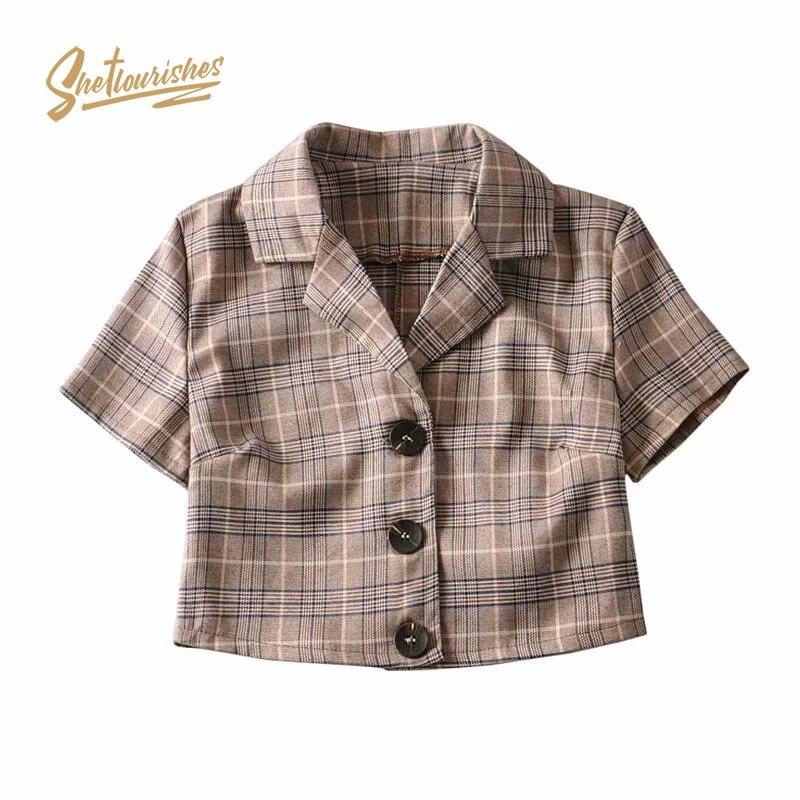 Sheflourishes Womens Cropped Shirt Blouses short sleeve Summer Retro Womens tops and blouses vintage khaki plaid Crop Top SFF3b