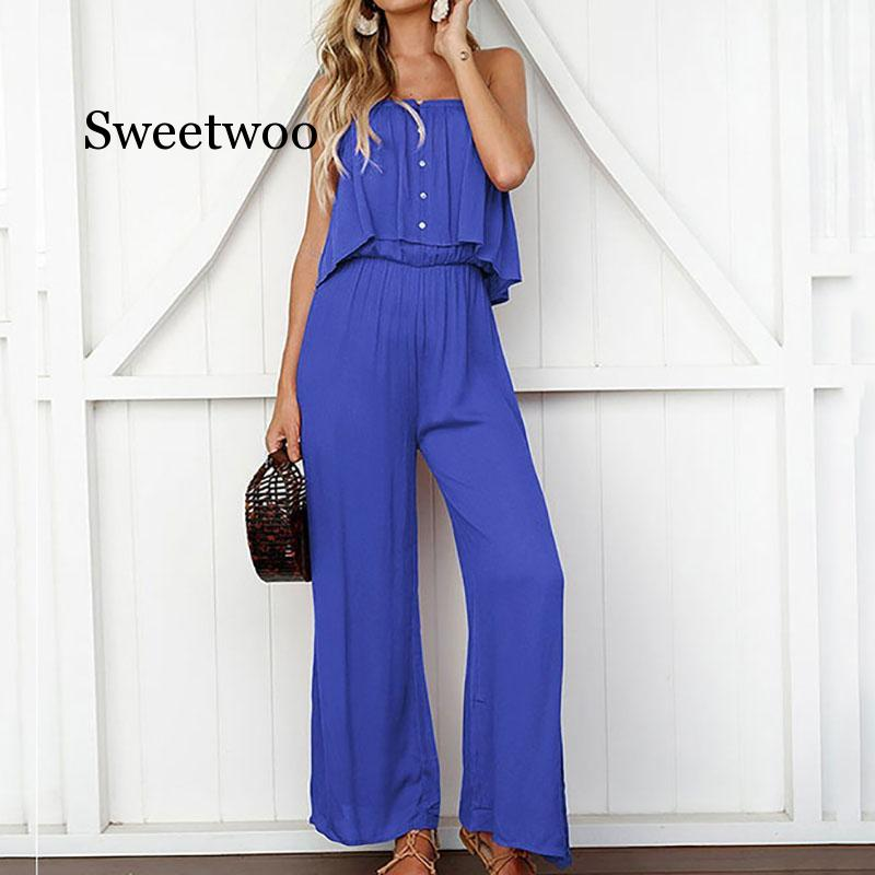 Casual elegant Solid Color jumpsuit summer overalls for women  Women's Loose Strapless Trousers Summer Romper Jumpsuit trendy strapless denim jumpsuit for women
