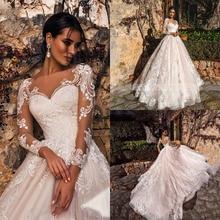 Swseet Heart Neck Wedding Dresses Long Sleeve Lace Country Boho Wedding Gowns Plus Size Wedding Dresses Bridal Gowns Robe De