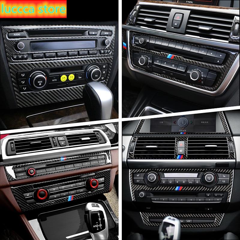 Carbon Fiber Auto Klimaanlage CD Panel Abdeckung Aufkleber Für BMW X5 X6 F30 F32 F20 F10 F15 F16 F34 e90 E70 E71 E60 G30 G32 F22
