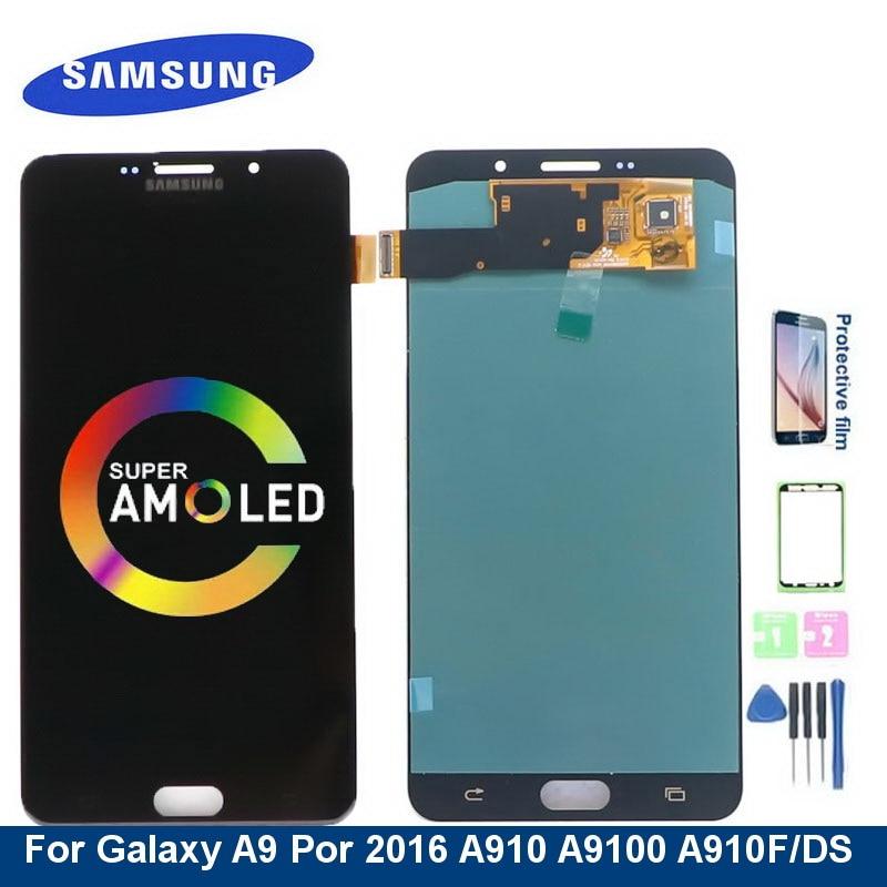 سوبر AMOLED A910 شاشة LCD لسامسونج غالاكسي A9 بور 2016 A910 A9100 A910F/DS شاشة LCD تعمل باللمس محول الأرقام الجمعية