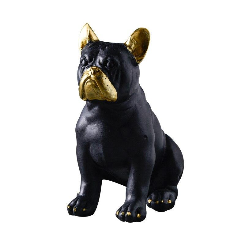 Escultura de Bulldog hecha a mano de oro negro figuras modelo miniatura para decoración del hogar Accesorios de resina ornamento de perro manualidades modelo
