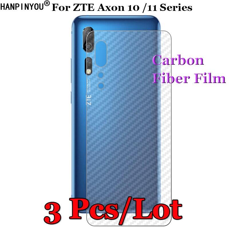 3 unids/lote para ZTE Axon 10 10s Pro 11 SE 4G 5G 3D antideslizante claro fibra de carbono película trasera Protector de pantalla pegatina protectora