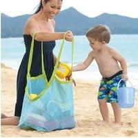 Grand sac de plage en maille pour enfants  sacs de rangement pour jouets de plage  sac a main de rangement pour outils de dragage de sable  pochette a bandouliere pour enfants