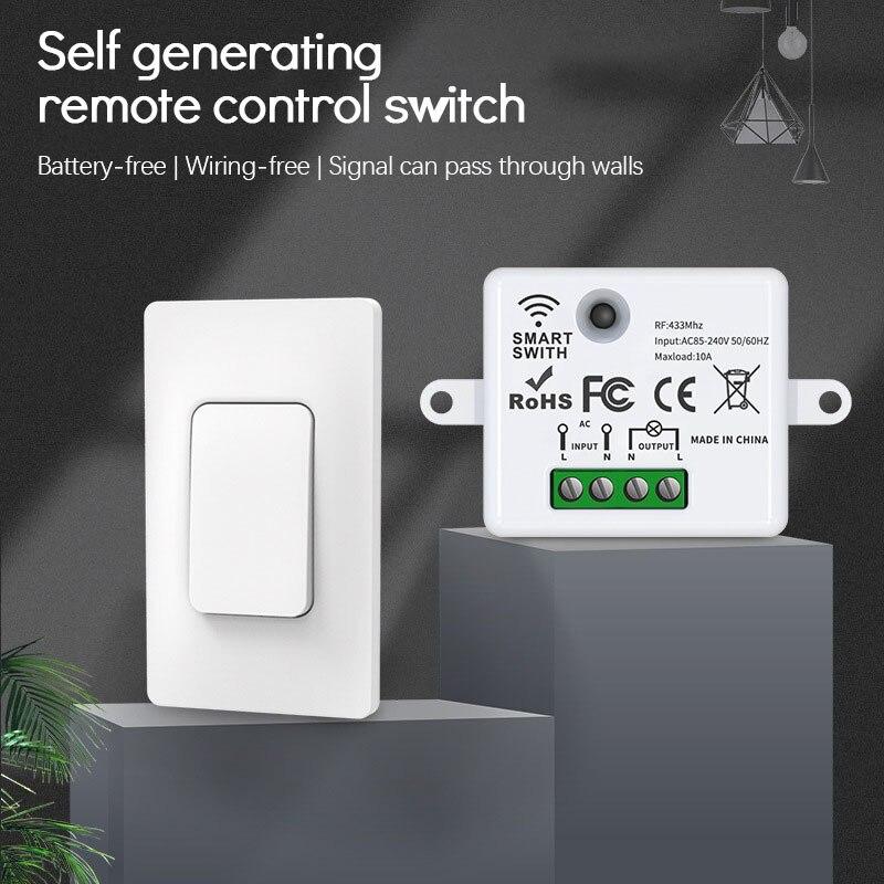 Беспроводной кинетический настенный выключатель, не требует батареек, дистанционное управление освещением, без проводов, легкая установка...