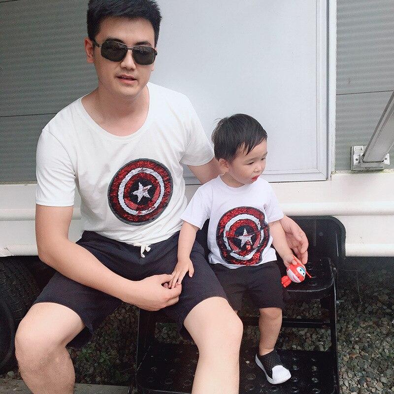 Camisetas de manga corta con lentejuelas Superman Capitán América ropa para padres e hijos trajes a juego para familia regalos para niños Dropshipping